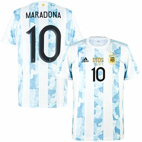 2021 Argentina Home Shirt + Maradona 10 (Official Printing) & D10S Transfer