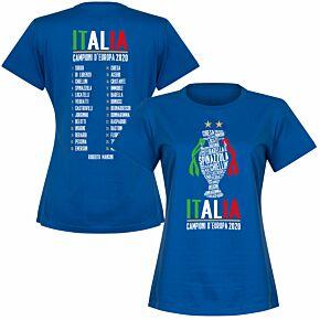 Italia Champions of Europe 2020 Squad Womens T-shirt - Royal