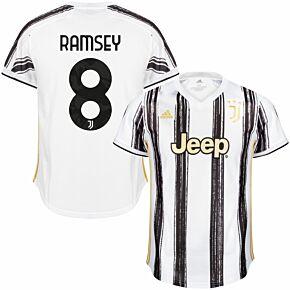 20-21 Juventus Home Shirt + Ramsey 8 (Official Printing)
