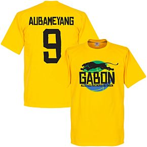 Gabon Logo Aubameyang Tee - Yellow