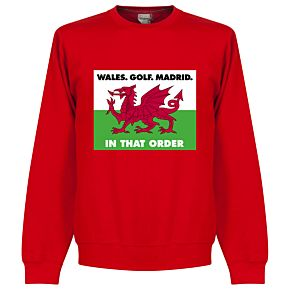 Wales, Golf, Madrid in that  Order Sweatshirt - Red