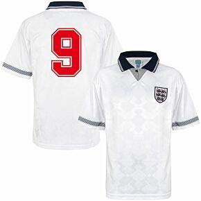 1990 England Home Retro World Cup Finals Shirt + No.9 (Retro Flock Printing)