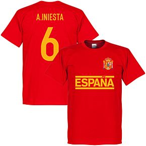 Spain A. Iniesta Team Tee - Red