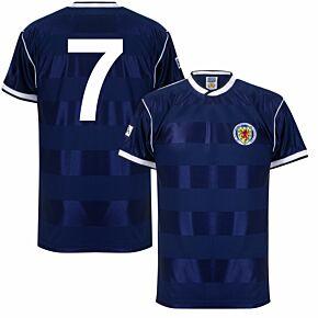1986 Scotland Home Retro Shirt + No. 7 (Retro Flock Printing)