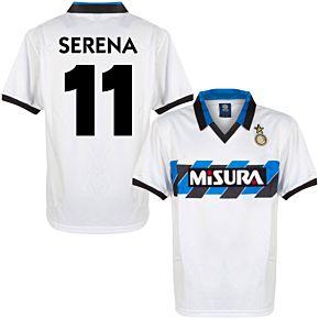 1990 Inter Milan Away Retro Shirt + Serena 11 (Retro Flock Printing)