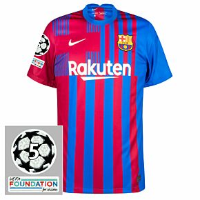 21-22 Barcelona Home Shirt + UCL Starball 5 Times Winner + UEFA Foundation Patches