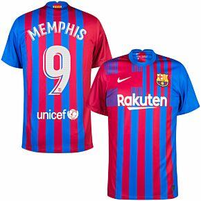 21-22 Barcelona Home Shirt + Memphis 9 (Official Printing)