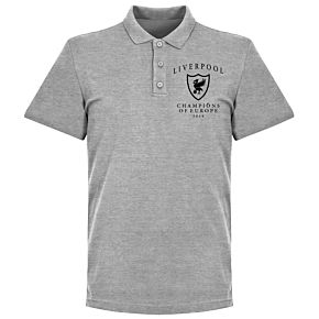 Liverpool Crest Champions of Europe Polo Shirt - Grey