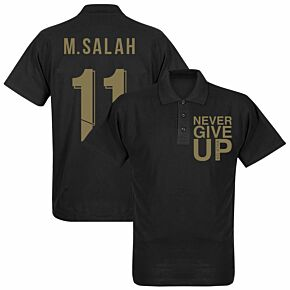 Never Give Up Liverpool M. Salah Polo Shirt - Black/Gold