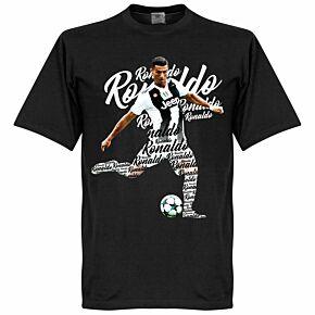 Ronaldo Script Kids Tee - Black