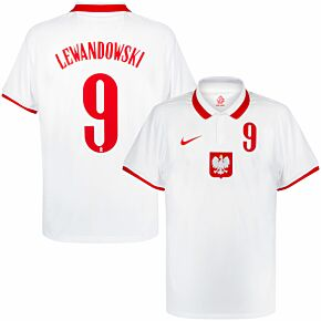 20-21 Poland Home Shirt + Lewandowski 9 (Official Printing)