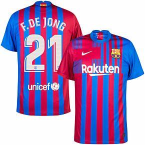 21-22 Barcelona Home Shirt + F. De Jong 21 (Official Printing)