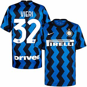 20-21 Inter Milan Home Shirt + Vieri 32 (Official Printing)