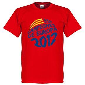2012 Spain Campeones De Europa Circle Graphic Tee - Red