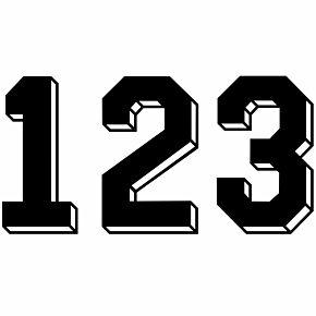 Retro Shadow Style Black Numbers
