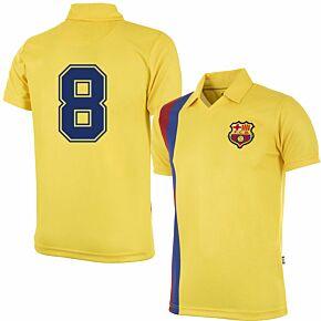 81-82 Barcelona Away Retro Shirt + No.8 (Retro Flock Printing)