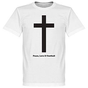 Peace, Love, Football Tee - White