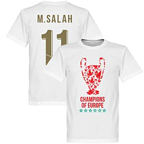 Liverpool Trophy M. Salah 11 Champions of Europe Tee - White