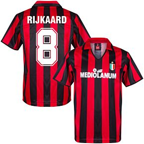 1988 AC Milan Home Retro Shirt + Rijkaard 8 (Retro Flock Printing)