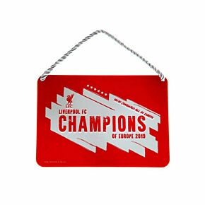 Liverpool Champions of Europe 2019 Metal Sign (16.5 x 11.5cm)
