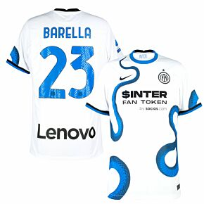 21-22 Inter Milan Away Shirt + Barella 23 (Official Printing)