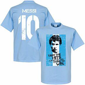Messi 10 Argentina Flag Tee - Sky