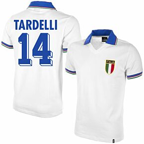 1982 Italy Away Shirt + Tardelli 14 (Retro Flock Printing)