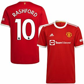 21-22 Man Utd Home Shirt + Rashford 10 (Premier League)