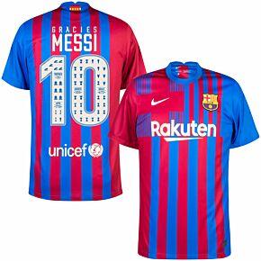 21-22 Barcelona Home Shirt + Gràcies Messi 10 (Celebration Printing)