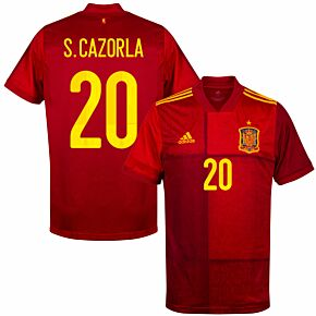 20-21 Spain Home Shirt + S.Cazorla 20