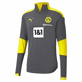 20-21 Borussia Dortmund 1/4 Zip L/S Training Top - Grey/Yellow
