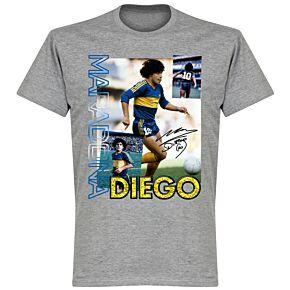 Diego Maradona Old Skool T-shirt - Grey Marl