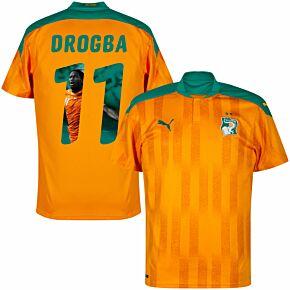 20-21 Ivory Coast Home Shirt + Drogba 11 (Gallery Style Printing)