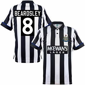 1995 Newcastle United Home Retro Shirt + Beardsley 8 (Retro Printing)