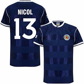 1986 Scotland Home Retro Shirt + Nicol 13 (Retro Flock Printing)
