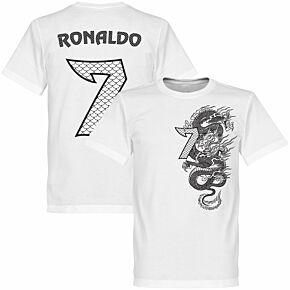 Ronaldo 7 Dragon Boys Tee - White