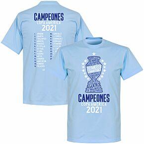 Argentina 2020 Copa America Champions Squad KIDS T-shirt - Sky Blue