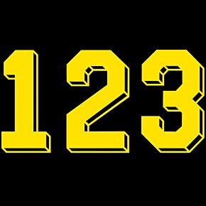Retro Shadow Style Yellow Numbers