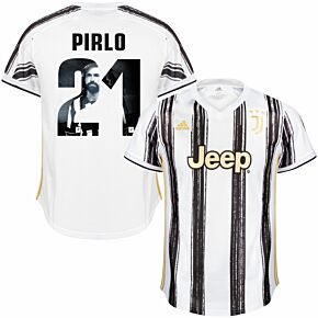 20-21 Juventus Home Shirt + Pirlo 21 (Gallery Style Printing)