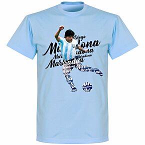 Maradona Script T-shirt - Sky Blue