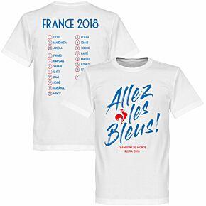 France Allez les Bleus Russia 2018 Squad Tee - White