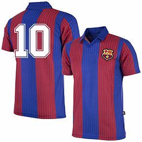90-91 Barcelona Home Retro Shirt + No.10 (Retro Flock Printing)