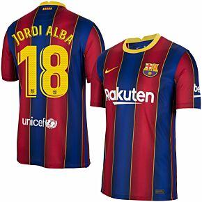 20-21 Barcelona Home Shirt + Jordi Alba 18 (Official Pro Size)