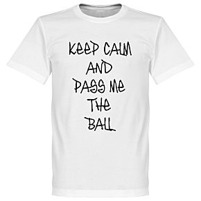 Keep Calm and Pass Me the Ball Tee - White (Handwriting)