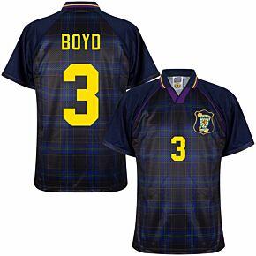 1996 Scotland Home Retro Shirt + Boyd 3 (Retro Flock Printing)