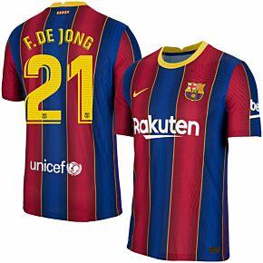 20-21 Barcelona Vapor Match Home Shirt + F.De Jong 21 (Match Pro Printing)