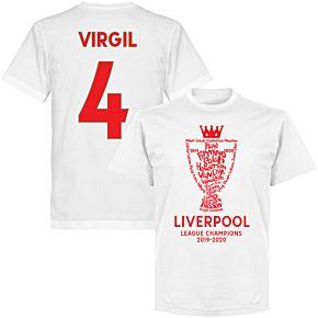 Liverpool 2020 League Champions Trophy Virgil 4 KIDS T-shirt - White