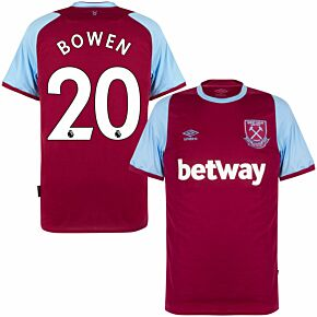 20-21 West Ham Home Shirt + Bowden 20 (Premier League Printing)