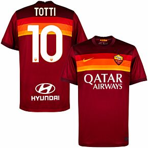 20-21 AS Roma Home Shirt + Totti 10 (Official Printing)