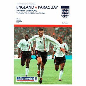2002 England vs Paraguay International Friendly in Liverpool Program - April 17, 2002